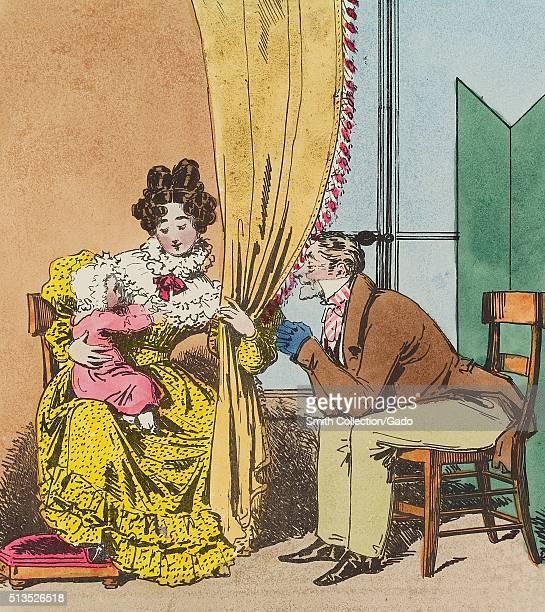 A lithograph entitled Maternal Care a woman is holding an infant on her lap while she uses a curtain to help the man playing peekaboo with the child...