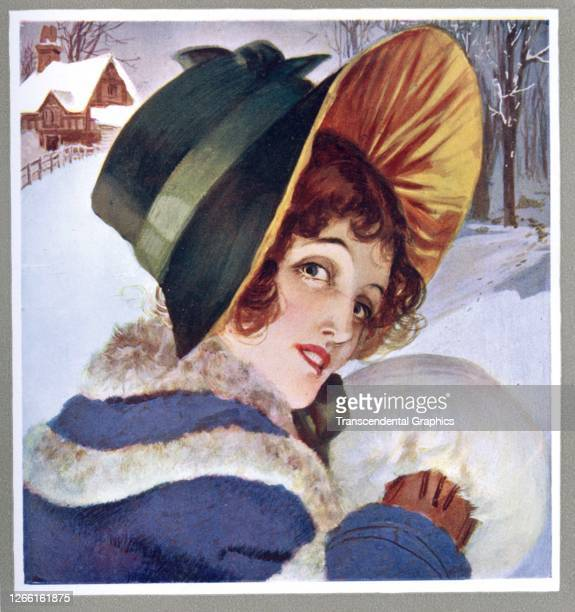Lithograph features a winter-themed illustration of a women in a fur-trimmed coat and a bonnet, 1918.
