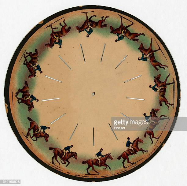 Lithograph from circa 1893 Images on a disc which when spun gives the illusion of a man riding a galloping horse