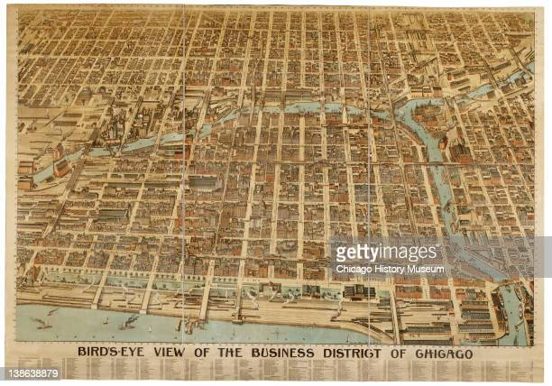 Lithograph of a bird'seye view of the Chicago business district Chicago Illinois 1898