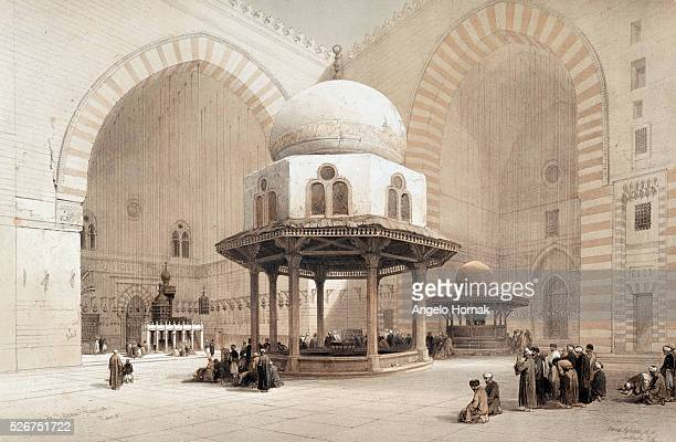 A lithograph of a drawing of the Mosque of Sultan Hussan in Cairo by the artist David Roberts dated 1848