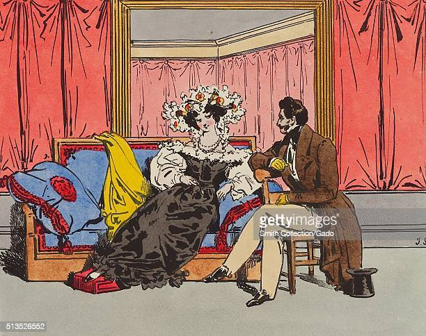 A lithograph of a man and a woman engaging in flirtatious behavior the woman is giving the man a coy look while she lays partially reclined on a sofa...