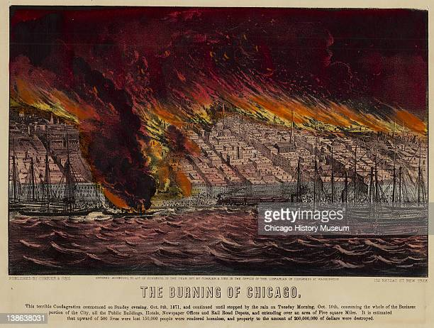 Lithograph of bird's-eye view of the city in flames during the Great Chicago Fire, Chicago, Illinois, 1871.