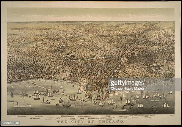 Lithograph of bird'seye view of the city of Chicago Illinois 1898