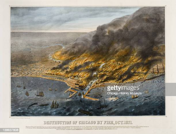 Lithograph of bird's-eye view of the City of Chicago in flames during the Great Chicago Fire, Chicago, Illinois, 1871.