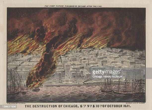 Lithograph of bird'seye view of the City of Chicago in flames during the Great Chicago Fire Chicago Illinois 1871