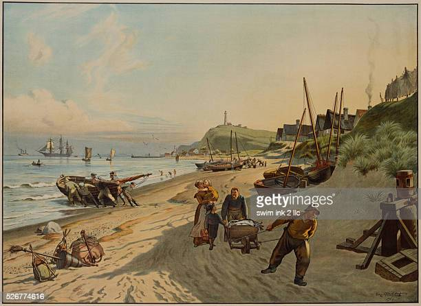 Lithograph of Danish Fishermen on a Beach by Christian Ferdinand Andreas Molsted