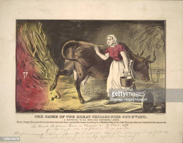 Lithograph of Kate O'Leary with her cow knocking over a lantern, the mythic start of the Great Chicago Fire, Chicago, Illinois, early 1870s.
