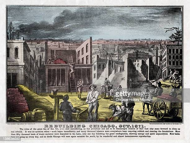 Lithograph of people rebuilding after Great Chicago Fire Chicago Illinois 1871