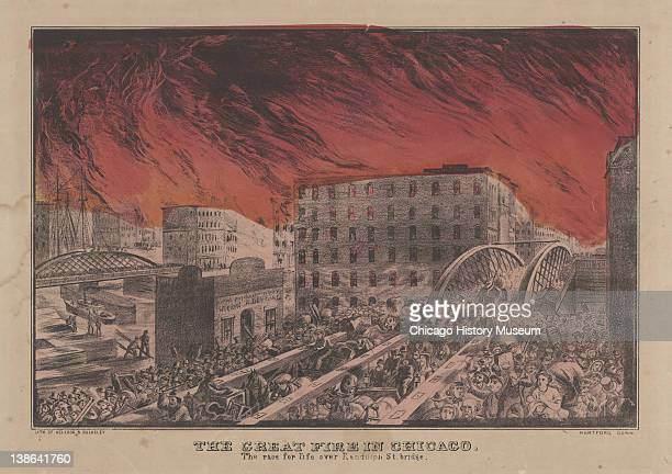 Lithograph of people running across the Randolph Street bridge trying to escape the flames of the Great Chicago Fire Chicago Illinois early 1870s