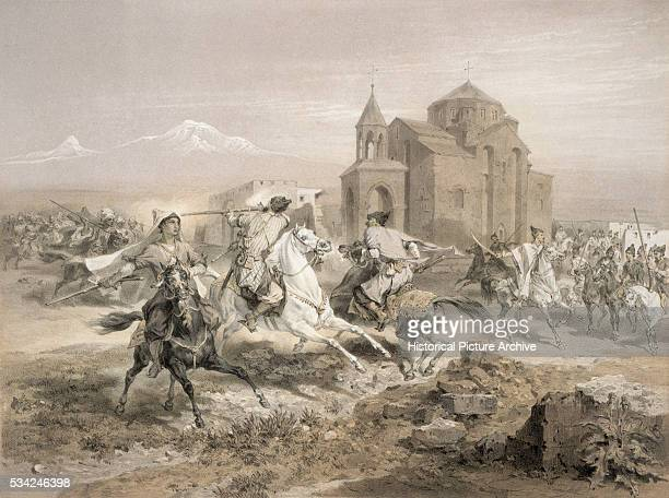 Lithograph of Persians Fighting Kurds