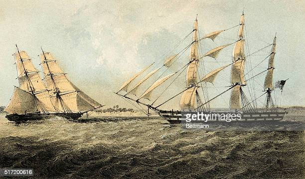 Lithograph of the American slave ship Martha of New York pictured off Ambriz June 6th 1850 with the US Brig Perry Martha was captured when she was...