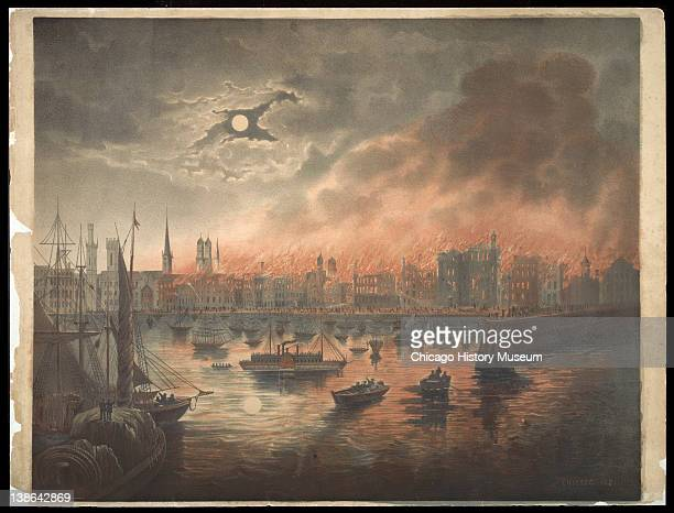 Lithograph of the burning city of Chicago under full moon, during the Great Chicago Fire, Chicago, Illinois, early 1870s.
