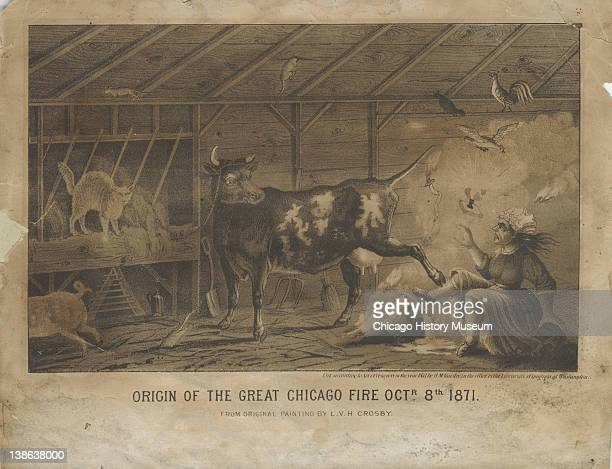 Lithograph of the interior of Patrick and Kate O'Leary's barn featuring a cow kicking over a lantern, mythic origin of the Great Chicago Fire,...