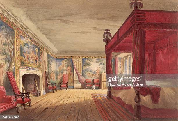 Lithograph of the Red Room at Cotehele House in Cornwall UK Published around 183040