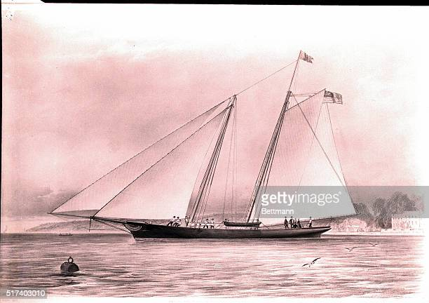 1851 Lithograph of the schooner yacht America BPA2# 5718