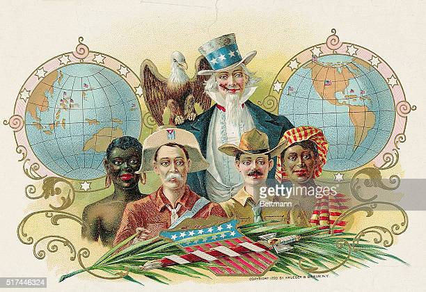 Lithograph of Uncle Sam bald eagle perched on his shoulder and a cross section of people of different races who live in his many colonies
