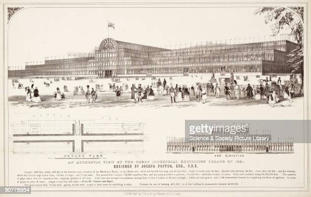 Lithograph perspective view of the Crystal Palace with a ground plan and end elevation and a description of the sizes and quantity of materials used...