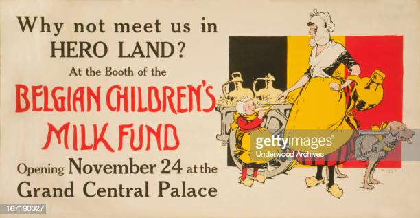 A lithograph poster to advertise the Hero Land benefit for the WWI troops at the Grand Central Palace New York New York 1917 A woman and child are...