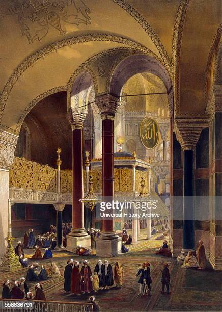 Lithograph print depicting the gallery and imperial tribune of Ayasofya Mosque formerly the Church of Hagia Sophia with columns of Ephesus in the...