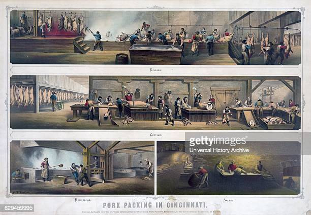 Lithograph print of Pork packing in a packing house in Cincinnati 'killing' 'cutting' 'rendering' and 'salting'