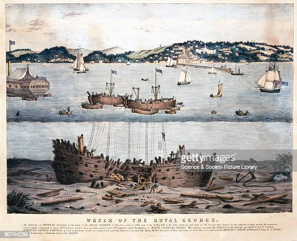 Lithograph printed by W Kolder showing the exploration of the wrecks of the 'Royal George' and 'Edgar' which lay 60 feet underwater in the Solent off...
