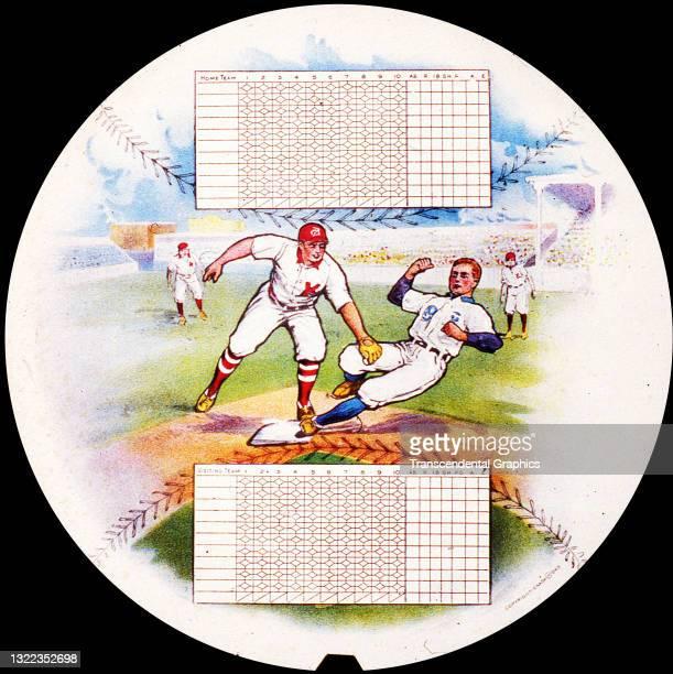 Lithograph printed on a circular fan features baseball scorecards, London, England, circa 1910.