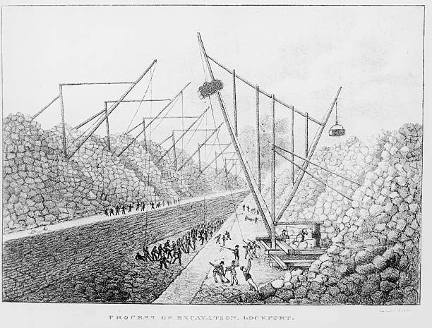 Lithograph showing the 'process of excavation, Lockport',...