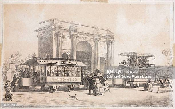 Lithograph showing the single-decker horse-drawn tram 'Victoria' and the double-decker 'Napoleon' passing Marble Arch in London. George Francis...
