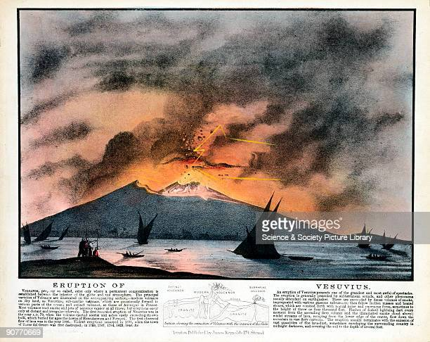 Lithograph showing Vesuvius in mideruption with a diagram below explaining the connection between volcanoes and the interior of the Earth Vesuvius is...