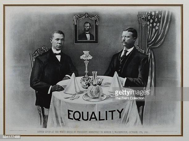 A lithograph that commemorates the significance of President Theodore Roosevelt hosting Booker T Washington at a White House dinner in 1901