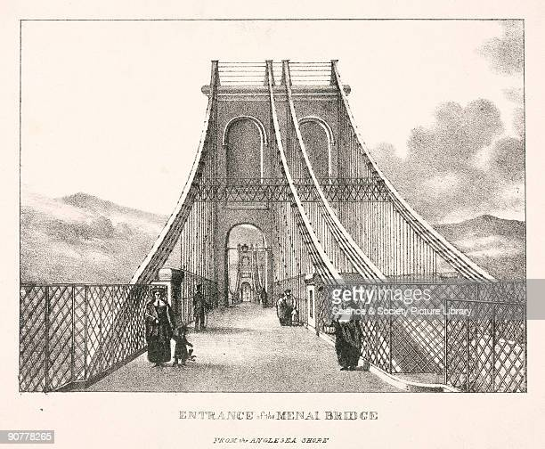 Lithograph The suspension road bridge connecting the Welsh mainland with Anglesey across the Menai Straits was designed by Thomas Telford and was...