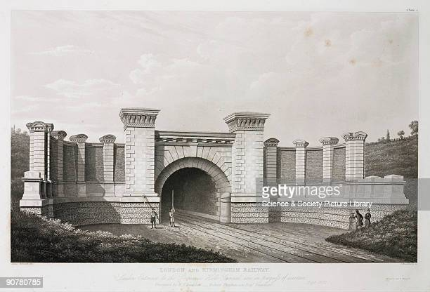 Lithograph with the caption �London Birmingham Railway London entrance to the Primrose Hill tunnel now in process of erection Designed by W H Buddon...