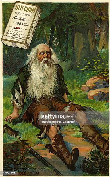 Lithographed advertisement for 'Old Chum Smoking Tobacco' features an illustration of literary character Rip Van Winkle as he wakes up after a 20...