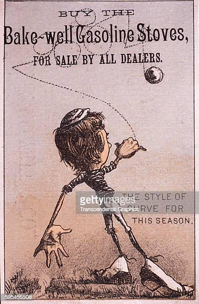 Lithographed advertising trade card featuring a baseball player circa 1880