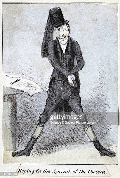 Lithographed caricature of an undertaker anticipating increased business from a cholera epidemic John Snow's work was vital in establishing the...