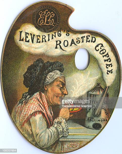 Lithographed diecut trade card in the form of an artist�s palette advertises �Levering's Roasted Coffee� with an illustration of an elderly women as...