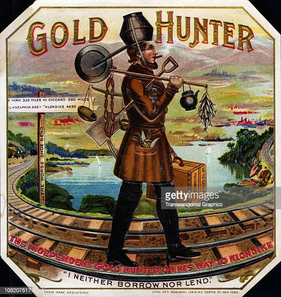 Lithographed �Gold Hunter� cigar box label features an illustration of a bearded prospector as he walks tools and a suitcase in his hands along...