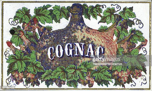 Lithographed label for 'Cognac' features a a number of bottles and grape vines around and behind a central fiascostyle bottle 1858