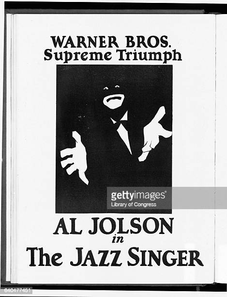 A lithographed movie poster for The Jazz Singer featuring actor and singer Al Jolson in blackface