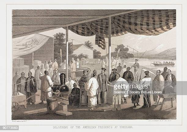 Lithographed plate by Sarony Co after W T Peters Gifts from the US Government to the nation of Japan are unloaded at Yokuhama Among the gifts are a...