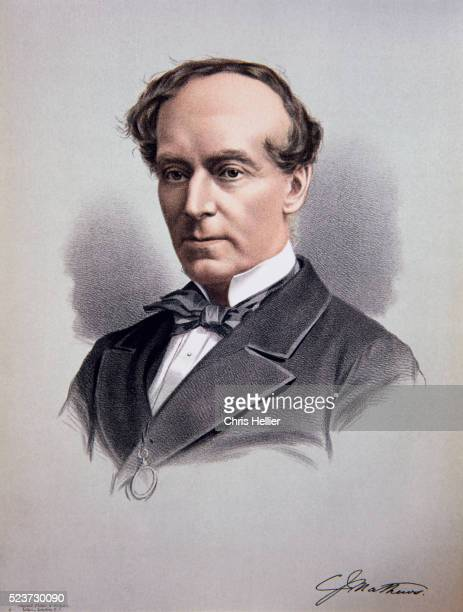 lithographed portrait of charles james mathews - chromolithograph stock pictures, royalty-free photos & images