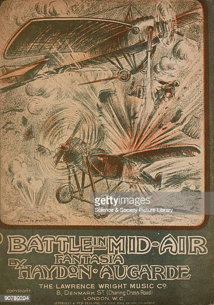 Lithographed sheet music cover by Frank M Barton depicting two aeroplanes engaged in a violent aerial dogfight The music is described as being a...