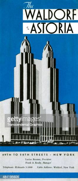 Lithographic advertising folder features stylized artwork of the Waldorf Astoria hotel and is published in New York CIty around 1930. The stylized...