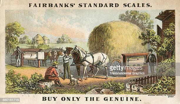 Lithographic advertising trade card for Fairbanks Scales Kansas City Missouri circa 1885