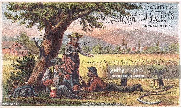 Lithographic advertising trade card for Libby's tinned meat shows farm workers are at lunch Chicago Illinois circa 1885