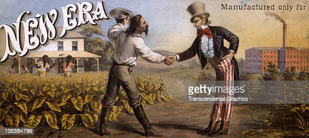 Lithographic artist TA Liebler Jr designed this reconstruction postCivil War scene for this tobacco crate label entitled New Era which was printed...
