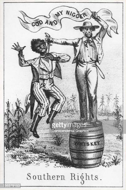 A lithographic card exposing the hypocrisy of religion combined with slavery was printed circa 1861 in an unknown American location