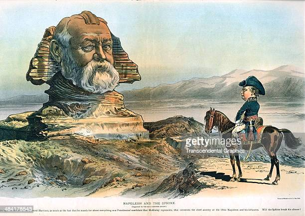 A lithographic cartoon centerfold in Judge political magazine featuring Benjamin Harrison and William McKinley is published in New York City in 1883...