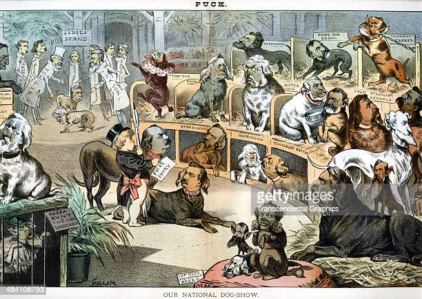 A lithographic cartoon in Puck magazine features a comical view of politicians as dogs at a dog show is printed in New York City in 1883 The...